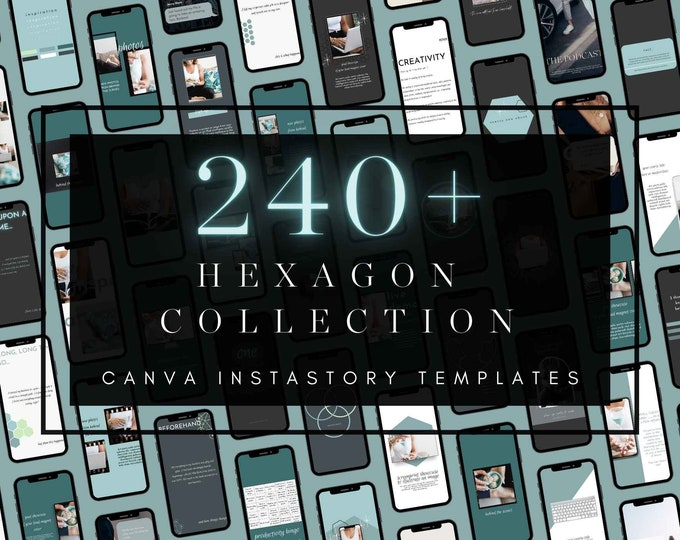 240+ InstaStory Templates for Canva - HEXAGON PART 1 - Canva Templates for Course, eBook Promotion, Engagement, Education, Inspiration