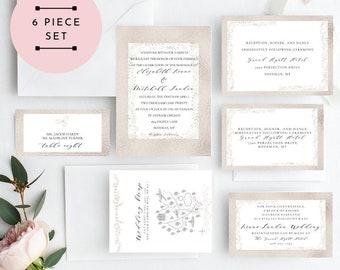 Blush Christmas Wedding Invitation, Rose Gold Wedding Invitation, Wedding Invitation Printable, Instant Download, KLDHLS, Edit Yourself