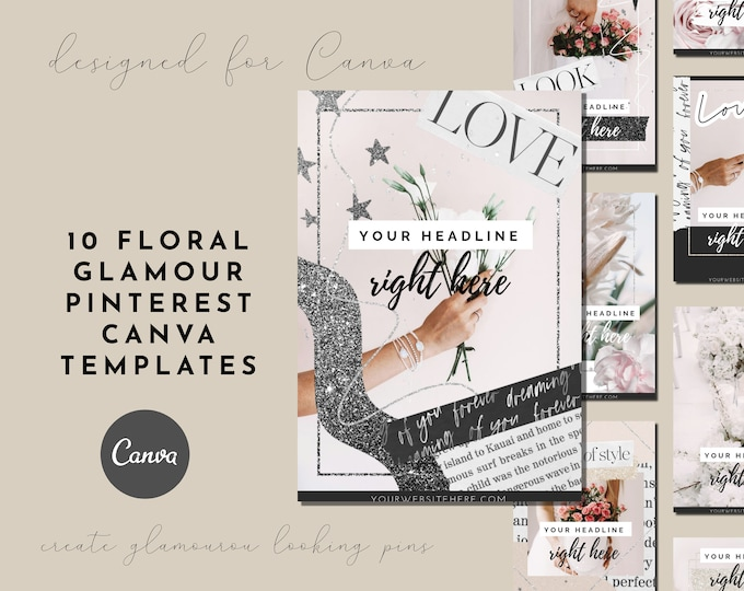 10 Floral Pink Glamour Pinterest Canva Templates for Feminine-Branded Bloggers, Lifestyle Blogs, Pink Branding for Pinterest