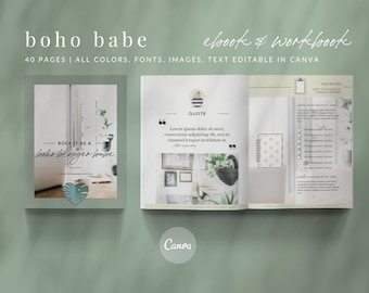 eBook & Workbook Canva Template Design - BOHO BLOGGER BABE - Plus Bonus 10 Pinterest and 10 Instagram Matching Canva Templates