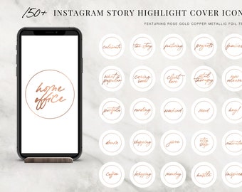 150+ Instagram Story Highlight Cover Icons - Instagram Story Covers - Instagram Stories - Rose Gold Metallic Copper