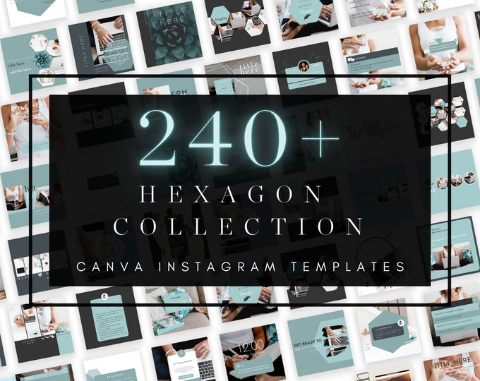 240+ Instagram Templates for Canva - HEXAGON PART 1 - Canva Templates for Course, eBook Promotion, Engagement, Education, Inspiration