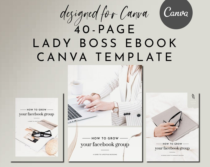 eBook & Workbook Canva Template Design - Lady Boss - Plus Bonus 10 Pinterest and 10 Instagram Matching Canva Templates