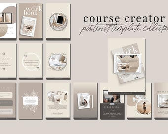Course Creator Pinterest Templates for Canva - 30 Pinterest Canva Templates for Course or eBook Promotion