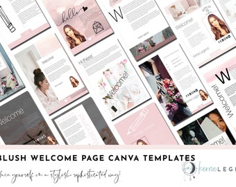 30 Blush Welcome Page Canva Templates | Welcome Kit | Client Welcome | About Me Page Template