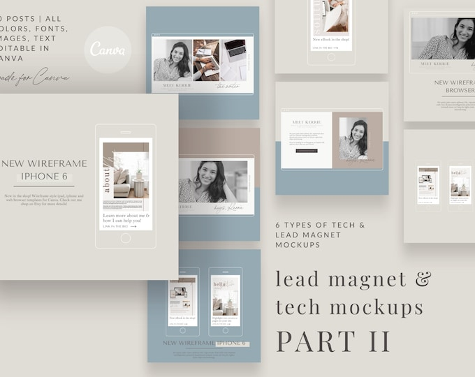 Lead Magnet and Website Custom Wireframe Tech Mockups - PART 2 - Wireframe Custom Instagram Templates for Canva - 30 Instagram Canva