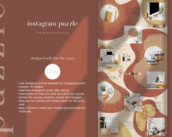 Boho Instagram Template - Instagram Puzzle Canva Template | Boho Instagram Grid for Bloggers