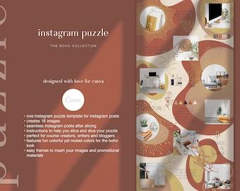 Boho Instagram Template - Instagram Puzzle Canva Template | Boho Instagram Grid for Bloggers