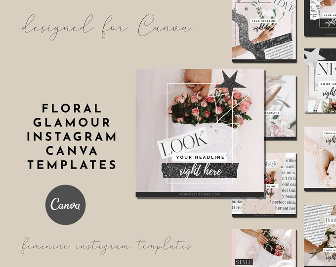 Floral Pink Glamour Instagram Canva Templates for Feminine-Branded Bloggers, Lifestyle Blogs, Pink Branding for Instagram
