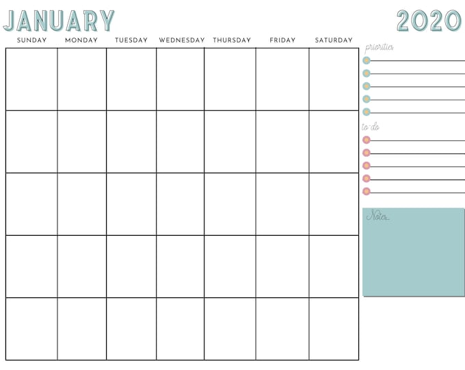 12-Month Calendar Canva Template - Horizontal Calendar Template