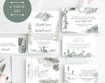 Trees & Leaves Wedding Invitation, Wild Pines Wedding Invitation, Wedding Invitation Printable, Instant Download, KLDWPY, Edit Yourself