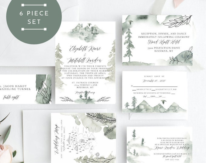Trees & Leaves Wedding Invitation, Wild Pines Wedding Invitation, Wedding Invitation Printable, Instant Download, KLDWPY, Edit Yourself