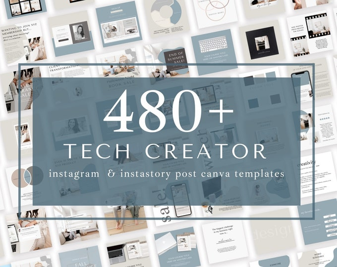 480+ Instagram Templates for Canva -Tech Creator - Canva Templates for Course, eBook Promotion, Engagement, Education, Inspiration