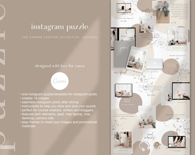 Beige Instagram Template - Instagram Puzzle Canva Template | Course Creator Natural Instagram Grid for Bloggers