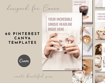 60 Pinterest Canva Templates with Beige Blush and Coffee Theme, DIY Pinterest, Canva Pinterest Pin Designs