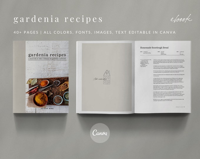Gardenia Recipe Book Canva Template Set - GARDENIA - 40 Pages, Recipe Template, Cookbook Template, Magazine Template