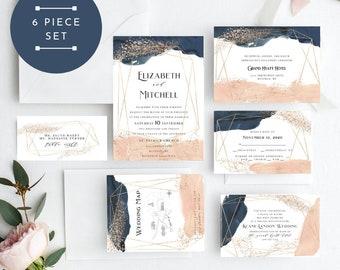 Blush Navy Wedding Invitation, Creamy Blush Wedding Invitation, Wedding Invitation Printable, Instant Download, KLDCRB, Edit Yourself