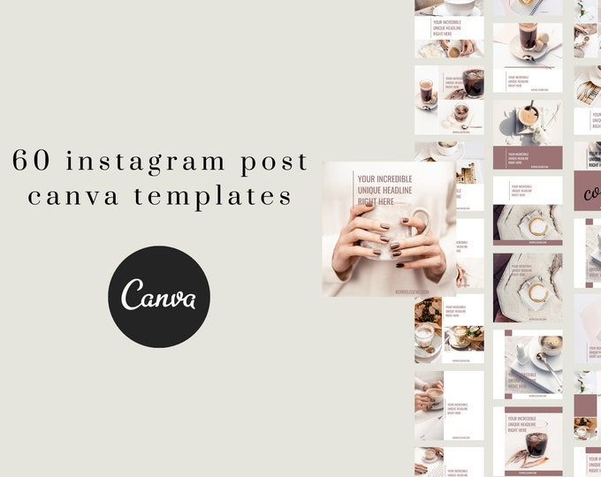 60 Instagram Posts Canva Templates with Coffee Inspired Theme & Colors