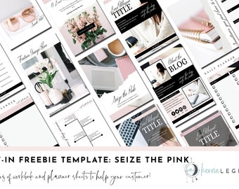 Opt-in Freebie Canva Template - Seize the Pink! | Canva Workbook Template | Lead Magnet Template | Landing Page Template