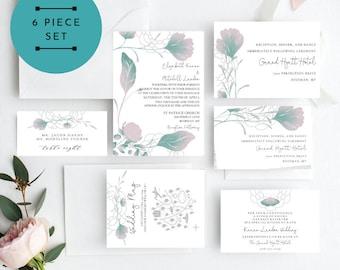 Turquoise Pink Wedding Invitation, Turquoise Floral Wedding Invitation, Wedding Invitation Printable, Instant Download, KLDMYB, DIY Wedding