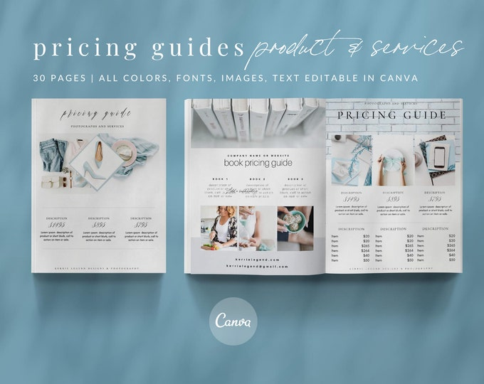 Pricing Guides Canva Template Set - 30+ Templates Included