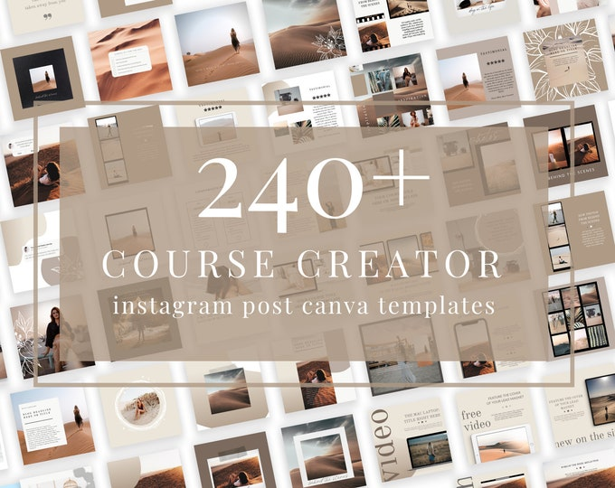 240+ Instagram Templates for Canva - Course Creator - Canva Templates for Course, eBook Promotion, Engagement, Education, Inspiration