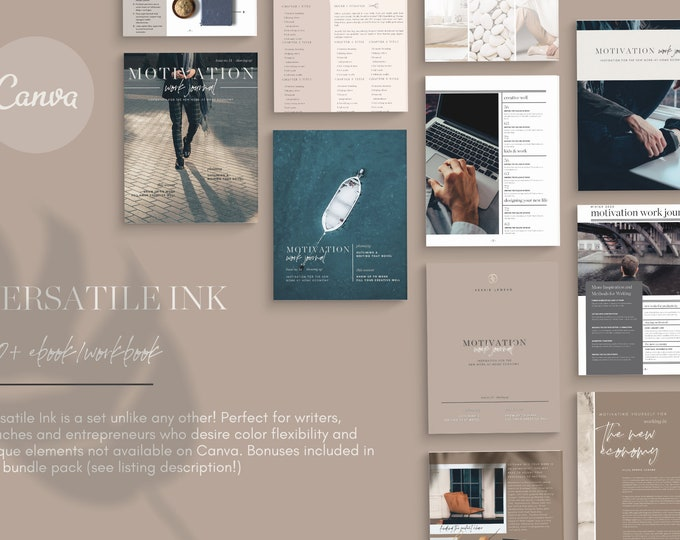 Canva Template eBook Workbook - VERSATILE INK Charcoal Ice 100 - for Bloggers, Writers, Coaches - Promotion, eBook, Workbook, Shopping Guide