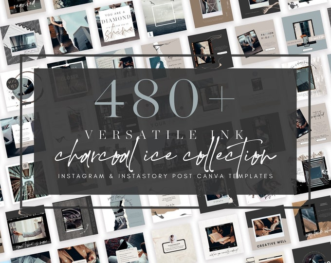480+ Instagram Templates for Canva - VERSATILE INK Charcoal Ice - Canva Templates for Course, eBook Promotion, Engagement, Education