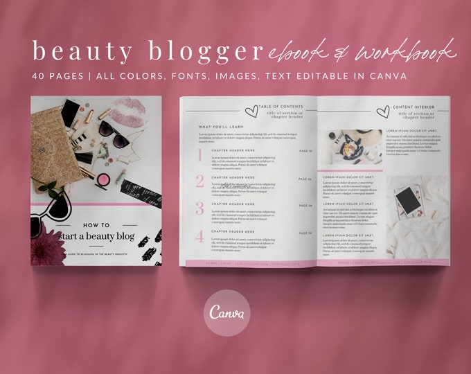 eBook & Workbook Canva Template Beauty Blogger Design - Plus Bonus 10 Pinterest and 10 Instagram Matching Canva Templates