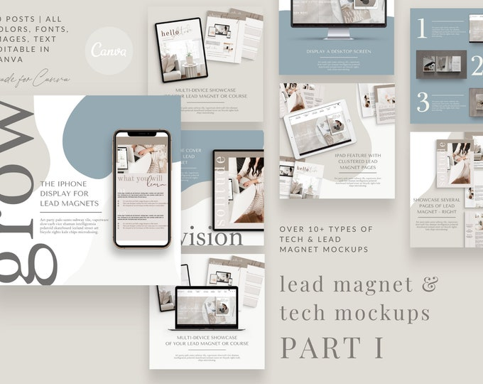 Lead Magnet Tech Mockups - PART 1 - Instagram Templates for Canva - 30 Instagram Canva Templates for Courses, Lead Magnets, eBook Promotion