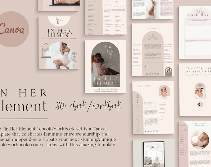 In Her Element Canva Template for Bloggers, Writers, Coaches - Course Pages, Checklists, Resource Guide, Workbook, Call to Action