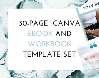 Canva eBook and Workbook Template Set Complete with Checklists, Resource Pages, Welcome and Thank You Pages