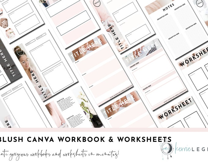 30 Blush Canva Workbook Templates | Canva Templates | Blush | Canva Worksheets | Templates