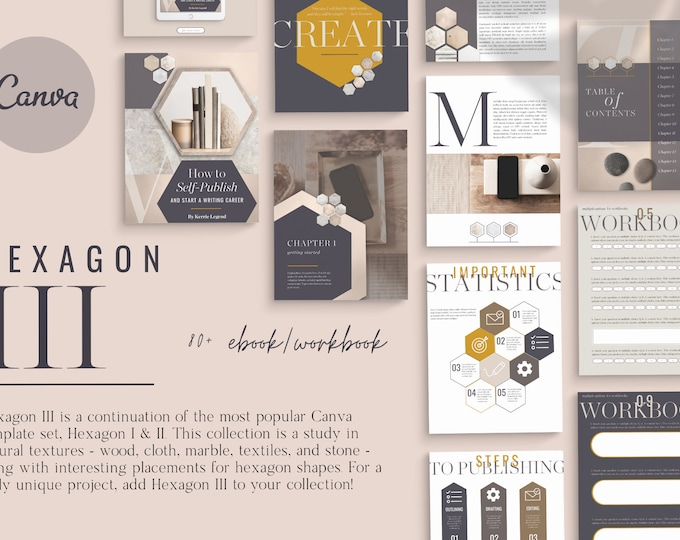 Hexagon III eBook Workbook for Canva Template - 80 Pages - Workbook, eBook, Graphs, Tech Mockups, Product Catalog