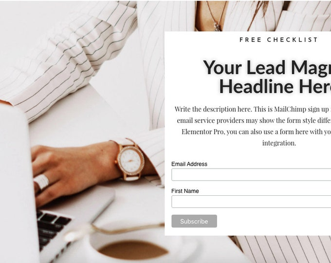 Lady Boss Elementor Opt In Form - Short | Landing Page for Elementor | Email Sign Up Form for WordPress Websites