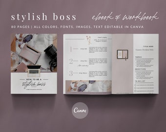 80-Page eBook Workbook Checklist Canva Template - STYLISH BOSS - Stylish Boss Collection