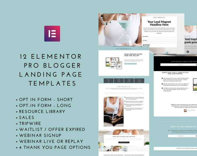 Landing Page Template Elementor Bundle - Pro Blogger Set - Elementor Templates for Bloggers - Website Theme - Lead Magnet Landing Pages