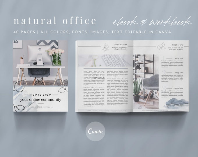 40-Page eBook & Workbook Canva Template Plus Bonus 10 Pinterest and 10 Instagram Matching Canva Templates