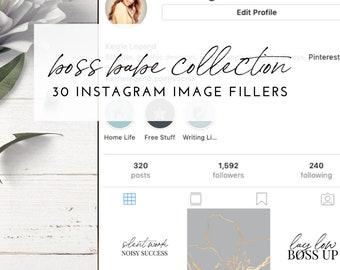 Boss Babe Instagram Post Fillers - BLUE & GREY GOLD Inspiration