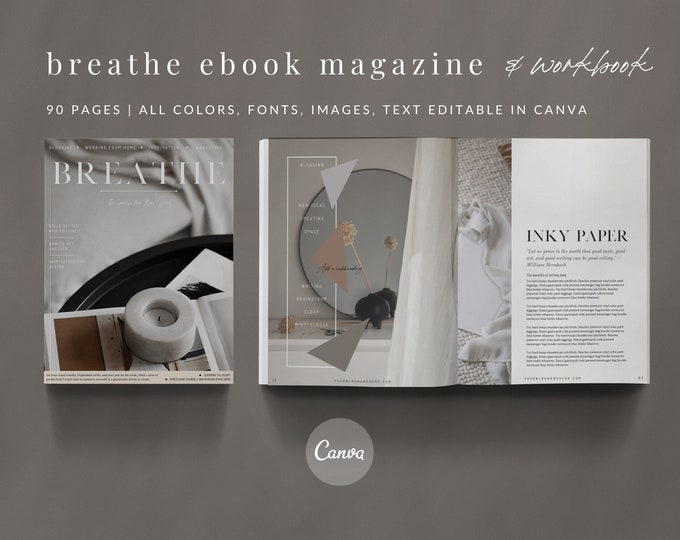 90-Page Canva Template - BREATHE MAGAZINE - Triangle Designed Minimal eBook Workbook for Bloggers with Tech Mockups and Analog Photography