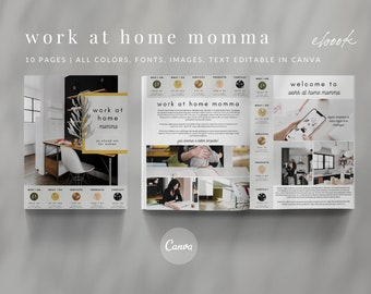 10-Page Canva Template - WORK at HOME MOMMA - About, Welcome, Details, Services, Products, Contact, Call to Action