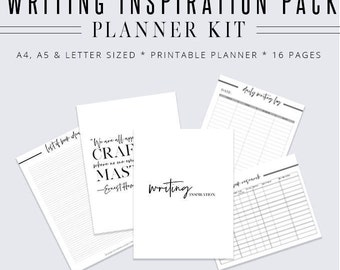 Writing Inspiration Pack, Writer Planner, Blog Planner, Writing Binder, Author Kit, Printable Planner, Planner Inserts, Digital Planner