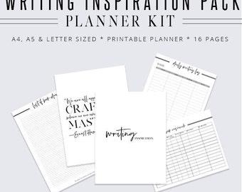 Writing Inspiration Pack, Writer Planner, Blog Planner, Writing Binder, Author Kit, Printable Planner, Planner Inserts, Digital Planner