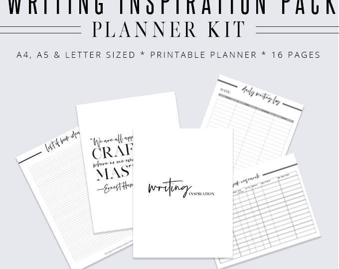 Featured listing image: Writing Inspiration Pack, Writer Planner, Blog Planner, Writing Binder, Author Kit, Printable Planner, Planner Inserts, Digital Planner