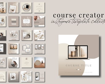 Course Creator Instagram Templates for Canva - 30 Instagram Canva Templates for Course or eBook Promotion