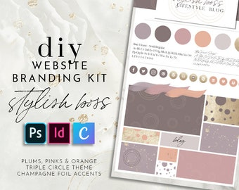 DIY Website Branding Kit - STYLISH BOSS - 100+ Elements, Seamless Patterns, Textures, Icons and Graphics for Your Blog Website