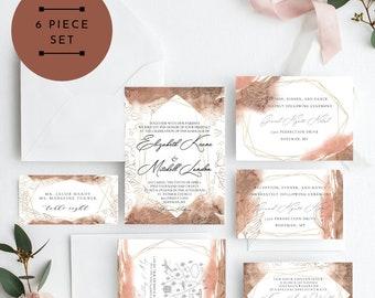 Fall Leaves Gold Wedding Invitation, Gold Leaf Wedding Invitation, Wedding Invitation Printable, Instant Download, KLDFLF, Edit Yourself