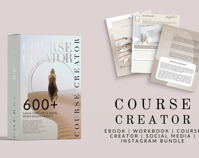 Course Creator Canva Template Bundle - ebook, workbook, worksheets, instastory, instagram templates, social media, Pinterest, and more