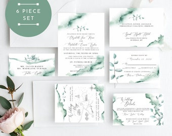 Greenery Eucalyptus Wedding Invitation, Greenery Wedding Invitation, Wedding Invitation Printable, Instant Download, KLDTRL, Edit Yourself