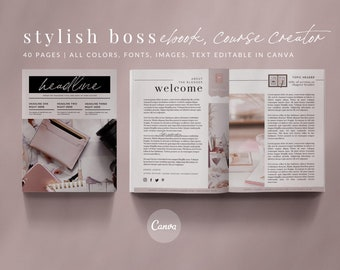 40-Page eBook & Workbook Canva Template - STYLISH BOSS - Plus Bonus 10 Pinterest and 10 Instagram Matching Canva Templates